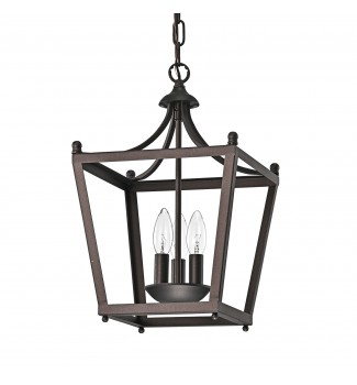 3-Light Antique Copper Finish Lantern Pendant Chandelier Ceiling Fixture