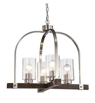 4-Light Brushed Nickel and Wood Finish Chandelier with Seedy Glass Shades