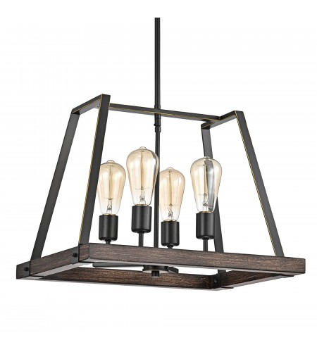 4-Light Wood and Oil Rubbed Bronze Pendant