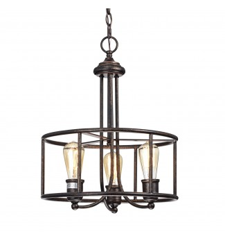 3-Light Industrial Antique Copper Round Pendant Chandelier Ceiling Fixture