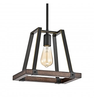 1-Light Wood and Oil Rubbed Bronze Pendant