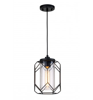 1 Light Black Finish Cage Wire Pendant with Seedy Glass Shade