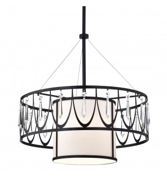 Merga1-Light Oil Rubbed Bronze Double Drum Chandelier Light with Crystal