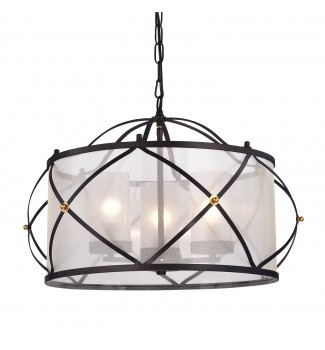 Merga 3-Light Oil Rubbed Bronze Wrought Iron Drum Ivory White Shade Chandelier