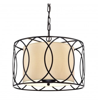 Merga 3-Light Oil Rubbed Bronze Wrought Iron Drum Cream White Shade Chandelier