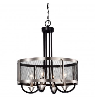 4-Light Brushed Nickel and Black Chandelier with Mesh Drum