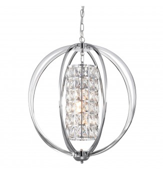 3-Light Chrome Finish Globe Orb Chandelier with Crystal Lined Cylinder Shade