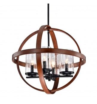 4-Light Black and Wood Finish Globe Pendant Chandelier with Seedy Glass Shades