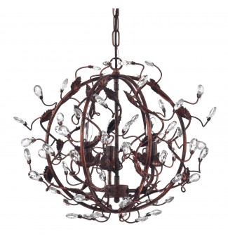 3-Light Antique Copper Globe Chandelier with Vines and Crystals