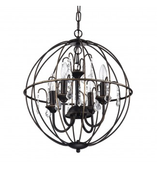 Dover 4-Light Antique Bronze Globe Sphere Orb Cage Chandelier with Crystals 16.5