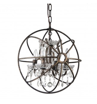 Dover 4-Light Antique Bronze Globe Sphere Orb Cage Chandelier with Crystals 16