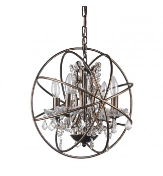 Dover 4-Light Antique Bronze Globe Sphere Orb Cage Chandelier with Crystals 15.5