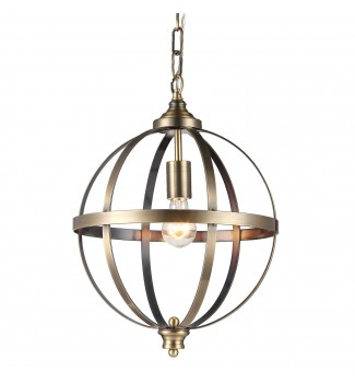 1-Light Brushed Bronze Globe Sphere Orb Pendant Chandelier Fixture