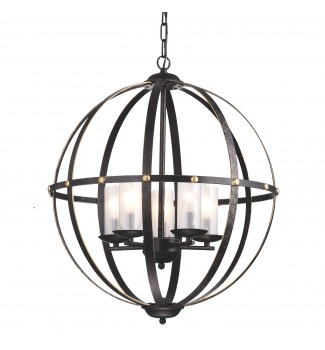 5-Light Antique Bronze Globe Sphere Orb Cage Chandelier with Frosted Glass Shade
