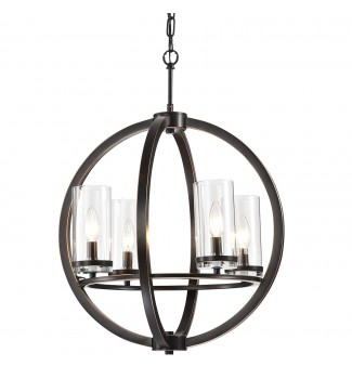 4-Light Oil Rubbed Bronze Globe Chandelier with Clear Glass Shades