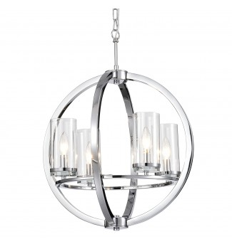 4-Light Chrome Globe Chandelier Ceiling Fixture with Clear Glass Cylinder Shades
