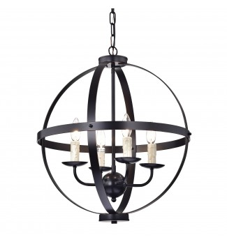 4-Light Oil Rubbed Bronze Globe Sphere Cage Chandelier Ceiling Fixture