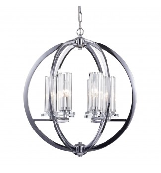 6-Light Chrome Finish Globe Orb Cage Chandelier with Clear Glass Shades