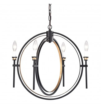 4-Light Black and Bronze Double Hoop Globe Sphere Orb Chandelier