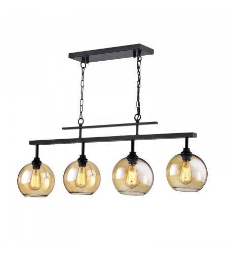 4-Light Antique Black Linear Kitchen Island Chandelier with Amber Glass Shade