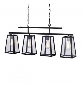 4-Light Antique Black Linear Island Chandelier with Clear Glass shades
