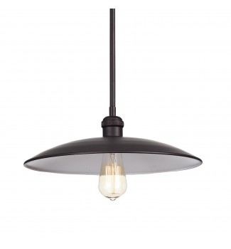 1-Light Oil Rubbed Bronze Domed Modern Farmhouse Pendant Chandelier