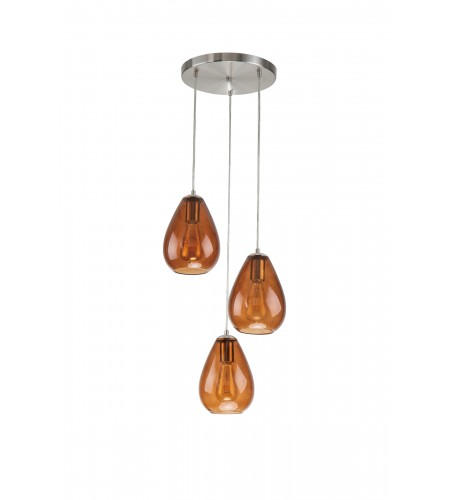 3-Light Brushed Nickel Pendant Ceiling Fixture with Amber Glass Shade