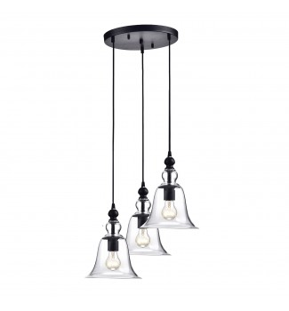 3-Light Antique Black Clear Glass Shade Pendant Kitchen Island Ceiling Fixture