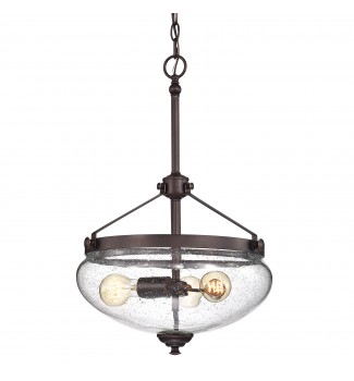 Yellowstone 3-Light Oil Rubbed Bronze Pendant with Seeded Glass Bell Shade