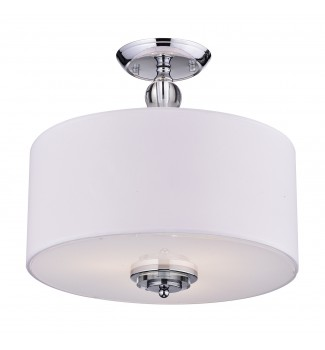 3-Light Decorated White Drum Semi Flush Mount Chrome Fixture