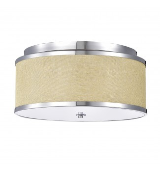 3-Light Linen Chrome Drum Shade Flushmount Light