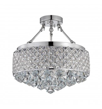 4-Light Chrome Semi Flush Mount Beaded Drum Crystal Chandelier
