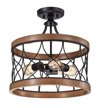 3-Light Wood and Black Metal Semi Flush Mount Fixture with Wire Drum