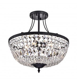 3-Light Antique Black Crystal Basket Semi Flush Mount Ceiling Fixture