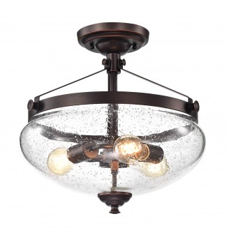 Yellowstone 3-Light Oil Rubbed Bronze Semi Flush Mount with Seeded Glass Shade