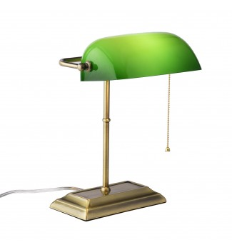 Green Glass Shade Classic Bankers Desk Lamp Polished Brass Finish