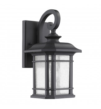 Gemma Textured Black Outdoor Wall Sconce Glass Lantern Lamp Light