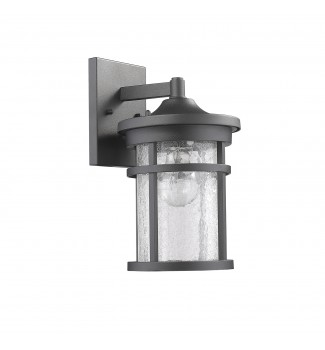 Lyra Textured Black Outdoor Wall Sconce Glass Cylinder Lantern Lamp Light