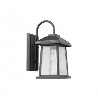 Carina Textured Black Outdoor Wall Sconce Glass Lantern Lamp Light