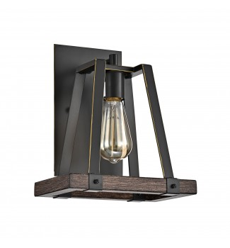 1- Light Wood and Oil Rubbed Bronze Wall Sconce