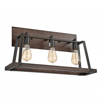 3-Light Wood and Oil Rubbed Bronze Vanity