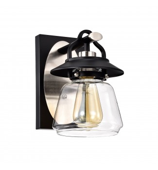 1-Light Black and Brushed Nickel Lantern Wall Sconce