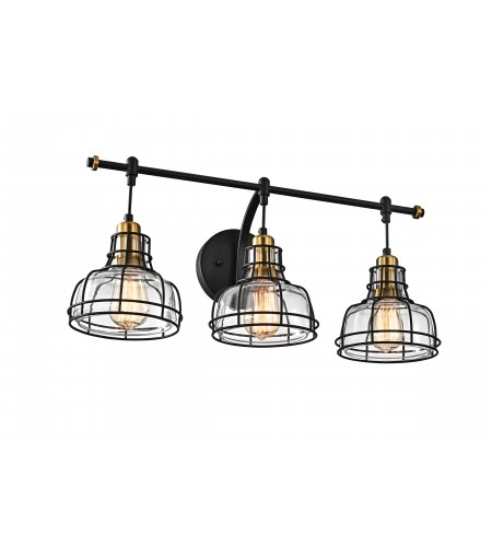 Locke 3-Light Black and Antique Gold Vanity with Clear Glass Shades