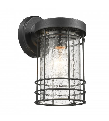 Textured Black Outdoor Cylinder Wall Sconce Lantern Lamp Light with Seedy Glass