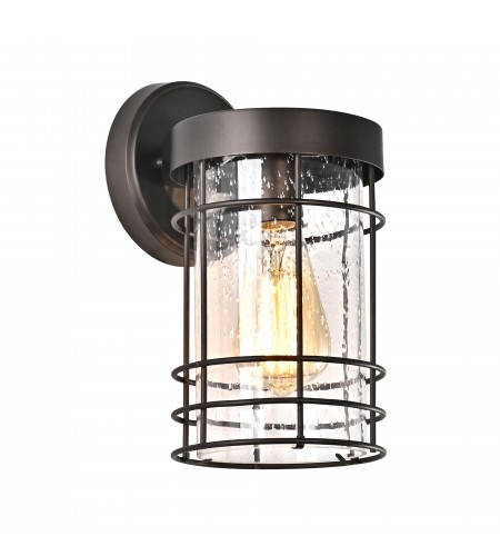 Oil Rubbed Bronze Outdoor Cylinder Wall Sconce Lantern Lamp with Seedy Glass