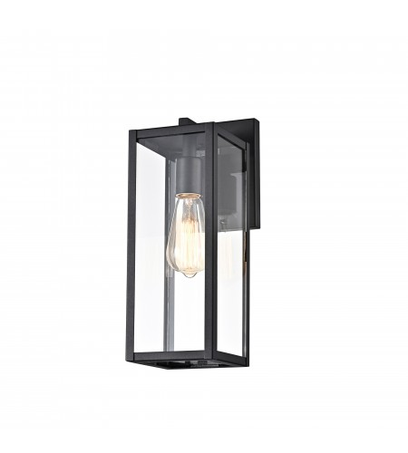 Textured Black Outdoor Boxed Wall Sconce Lantern Lamp Light with Clear Glass
