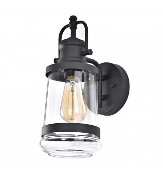 Textured Black Outdoor Farmhouse Wall Sconce Lantern Lamp Light with Clear Glass
