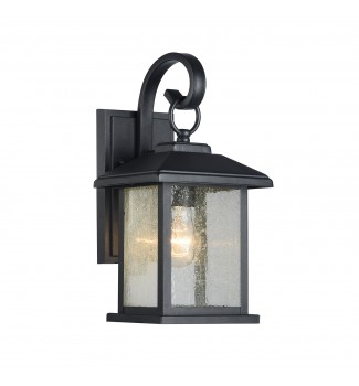 Mira Textured Black Outdoor Wall Sconce Clear Seedy Glass Lantern Lamp Light