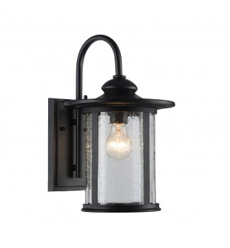 Maia Outdoor Wall Sconce Textured Black Clear Seedy Cylinder Lantern Light Med