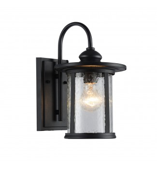 Maia Outdoor Wall Sconce Textured Black Clear Seedy Cylinder Lantern Light Sm